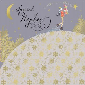 Nephew Christmas Card with Gold Foiling, Contemporary Design and Red Envelope KIS30